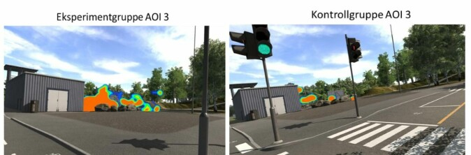 De to bildene viser forskjellen på hvor oppmerksomme barna var på et område der en fare kan skjule seg. Bildet til venstre viser fokuspunktet til barna som hadde gjennomgått den nye opplæringsmetoden. Bildet til høyre viser fokuspunkt hos de som hadde fått tradisjonell sykkelopplæring.
