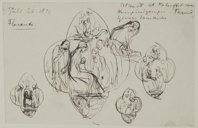 <i>Hyrdenes tilbedelse</i>. Utkast til relieff tegnet av Vigeland i Firenze i 1896. «Juli 26 1896 / Florentz / Udkast til Relieffet over Kongeindgangen. Throndhjems Domkirke.» Vigelandmuseet.