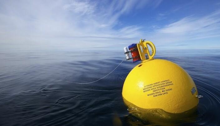 Dette er én av bøyetypene som brukes. Denne har en oppdrift på rundt 700 kg, og tåler fint et trykk tilsvarende 100 meters dybde. (Foto: Sindre Skrede)