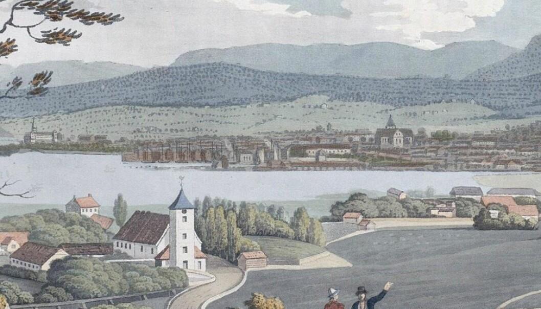 Christiania ble navnet på området ved Akershus festning, men på sletta nedenfor Ekebergåsen bestod Oslo-navnet - og det ble uttalt Orslo. (Bilde: Wikimedia Creative Commons)