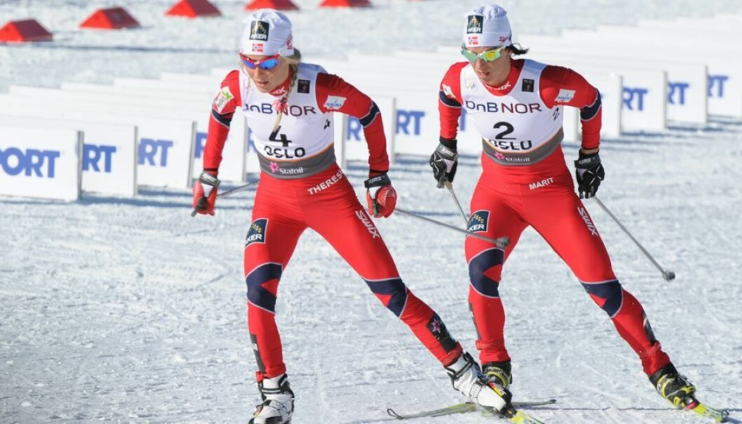 A long time prior to the doping issue: Therese Johaug won the 30-kilometre freestyle, with Marit Bjørgen in second place, at the Holmenkollen World Ski Championships on 5 March 2011.