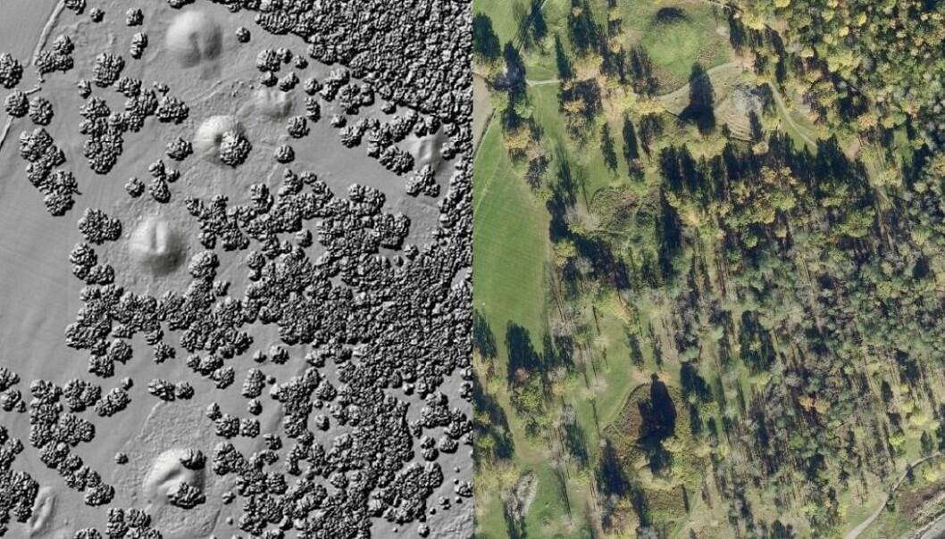 Gravhaugene i Borre i Vestfold, med laserdata og med vanlig luftfoto.