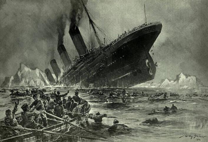 Alle de dårlige mutasjonene er som et synkende skip på evolusjonens hav. Sex sikrer at de gode mutasjonene kan finne sammen og redde seg unna. (Foto: (Bilde: Willy Stöwer: Der Untergang der Titanic, Wikimedia Commons))