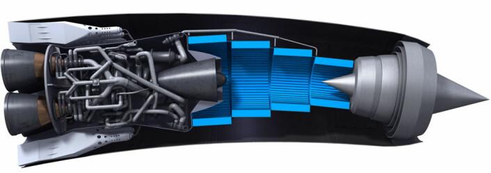 Motoren SABRE virker som en jetmotor ved hastigheter under Mach 5 og som en rakettmotor ved høyere hastighet, når romflyet Skylon nærmer seg verdensrommet. Det blå området kjøler ned innsugningslufta, og er en viktig og krevende del av den spesielle konstruksjonen. Motoren er krum som en ving for å øke løftet. (Foto: (Figur: Reaction Engines Limited))
