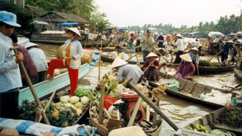 Mekong-elven i Vietnam. Det flytende markedet i Can Tho. Vietnam ligger nederst i elveleiet, mens storebror Kina ligger øverst. (Foto: Wikimedia Commons)