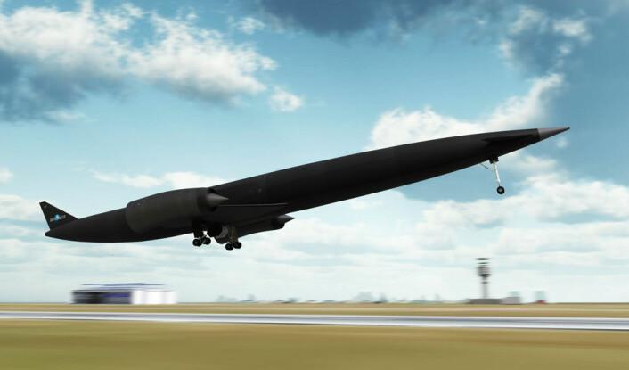 Romflyet Skylon kan ta av og lande som et vanlig fly, uten ekstra hjelpemotorer, slik som romferga. (Foto: (Illustrasjon: Reaction Engines Limited))
