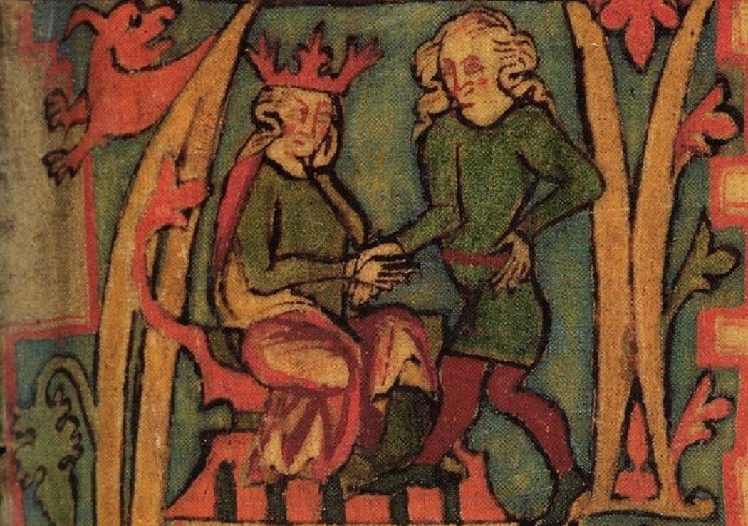 Harald Hårfagre mottar Norge fra sin far, Halvdan Svartes hånd.