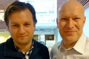 Vetle Engesbak hos Kjeller Innovasjon og Åsmund Drottning ved NORSAR samarbeider om å utvikle konseptet FrackTrack. (Foto: Bård Amundsen)