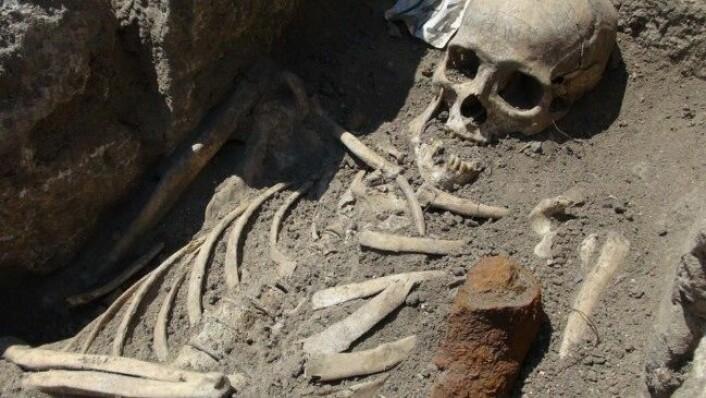 To skjeletter, funnet med jernstenger gjennom brystet, har fått bulgarske arkeologer til å tenke på vampyrer. (Foto: National Museum of History, Bulgaria)