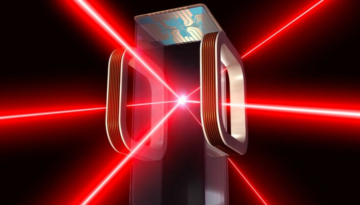 Slik framstiller NASA innsiden av Cold Atom Lab, hvor laserne kjøler ned atomene inne i den magnetiske fellen.