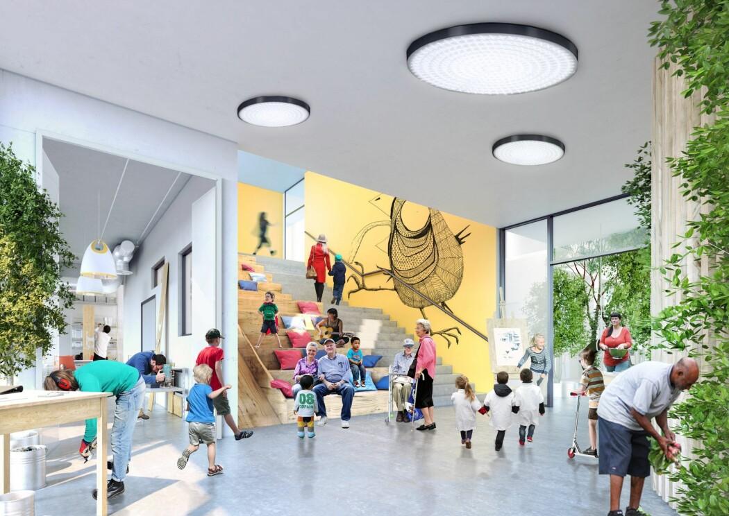 Generationernes Hus i Aarhus i Danmark: Her skal mennesker i ulike livsfaser og med ulike funksjonsnivåer leve side om side.
