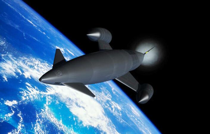 Romflyet Skylon skal kunne frakte opptil 24 astronauter til Den internasjonale romstasjonen for en hundredel av prisen idag. (Foto: (Illustrasjon: Reaction Engines Limited))