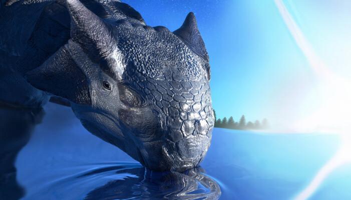 Slik ser en kunstner for seg at dinosauren Ankylosaurus magniventris tilbrakte sine siste øyeblikk før asteroiden slo ned.