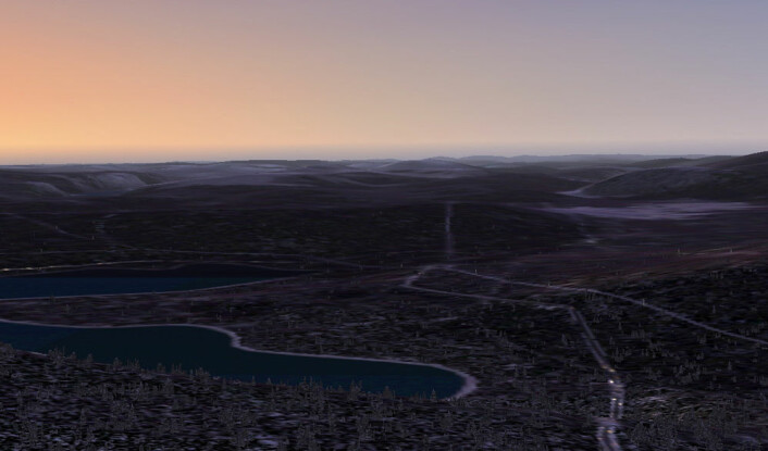 Kveld over Noresjø, utsikt fra PC-flysimulator. (Foto: (Skjermdump: Arnfinn Christensen))