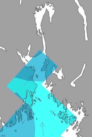 Så grovmasket var varslet av strømstyrke i Oslofjorden tidligere. Her er oppløsningen 4 kilometer. (Foto: (Meteorologisk institutt))