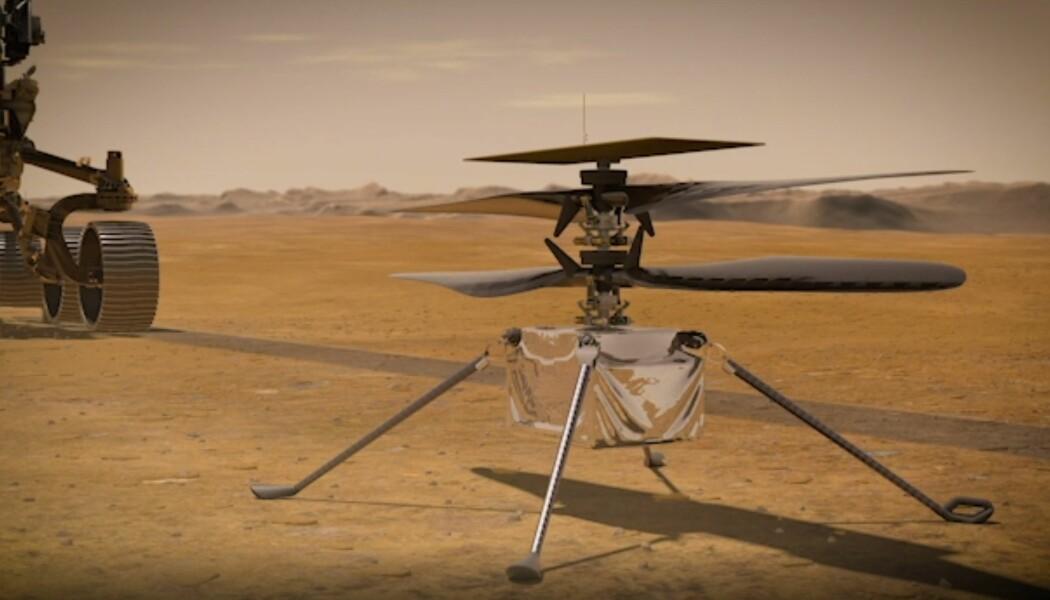 Slik ser NASA for seg at helikopteret ser ut på overflaten. Den skal fraktes til Mars på undersiden av Mars 2020-roveren.