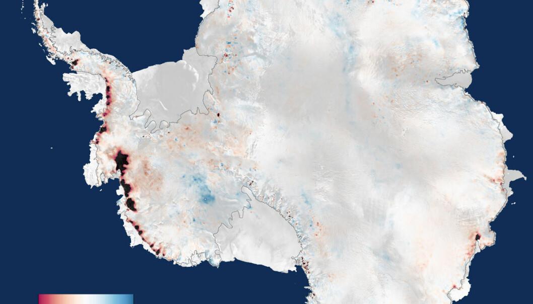 Tre års målinger fra CryoSat-satellitten viser at islaget over Antarktis nå mister 159 milliarder tonn is årlig, nok til å heve verdenshavene med 0,45 milliometer i året. (Figur: ESA)