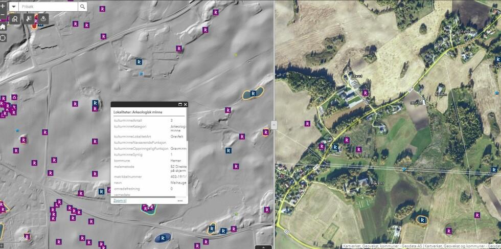 LIDAR-kartet fjerner støy og avdekker samtidig formasjoner i terrenget som kan være kulturminner. Her har vi sveipet over et område med gravhauger.