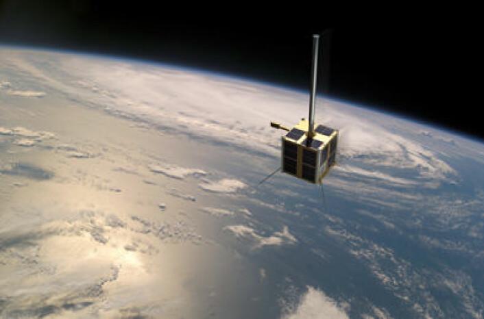 Den norske AISSat-1 er skal bedre oversikten over maritim aktivitet i nordområdene. (Illustrasjon: FFI / NASA / Norsk Romsenter / nyhetsgrafikk.no)