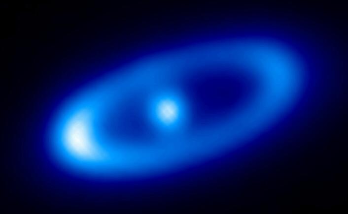 Den unge stjernen Fomalhaut, med en skive av støv rundt seg, fotografert av romteleskopet Herschel. (Foto: ESA)