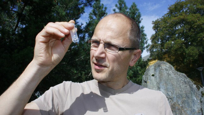 Torbjørn Ekrem med rør til å oppbevare insekter i. (Foto: Stina Åshildsdatter Grolid)