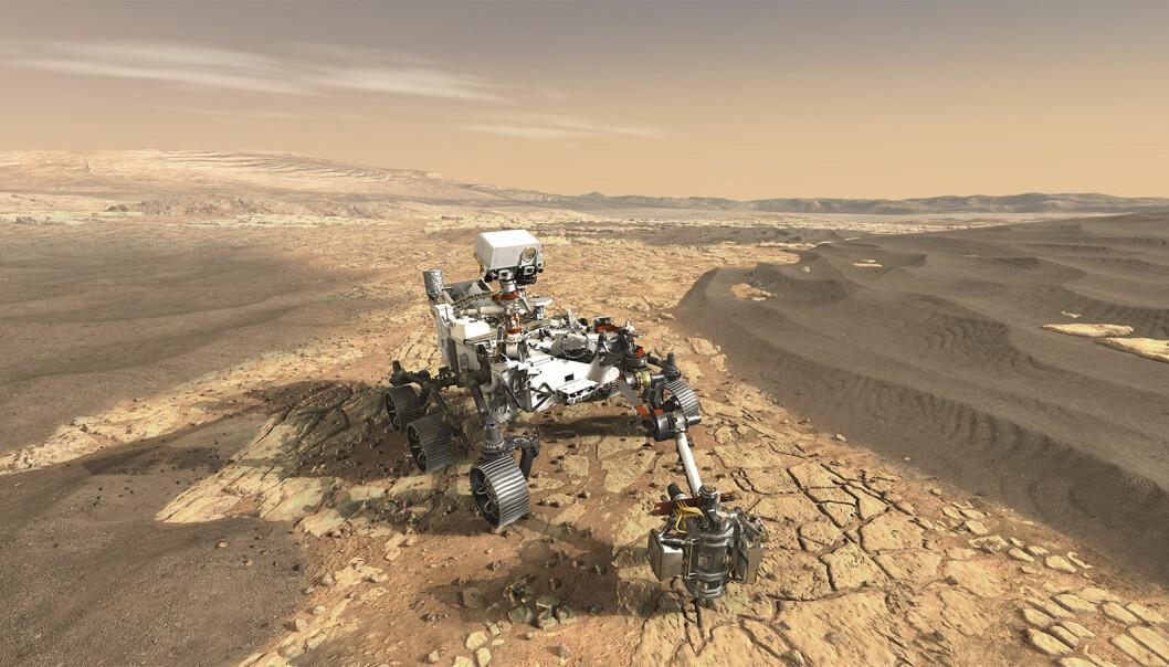 Denne illustrasjon av roveren «Perseverance» skildrer hvordan det kan se ut når den er i bruk for å utforske Mars.