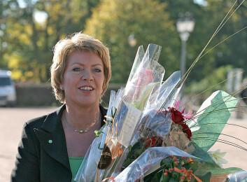 Åslaug Haga – en flink Sp-politiker som ble lagt død på grunn av en brygge og et stabbur. (Foto: Wikimedia Commons)