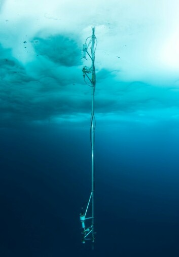 Instrumenter som måler varmeutveksling mellom hav og is. (Foto: Peter Leopold)