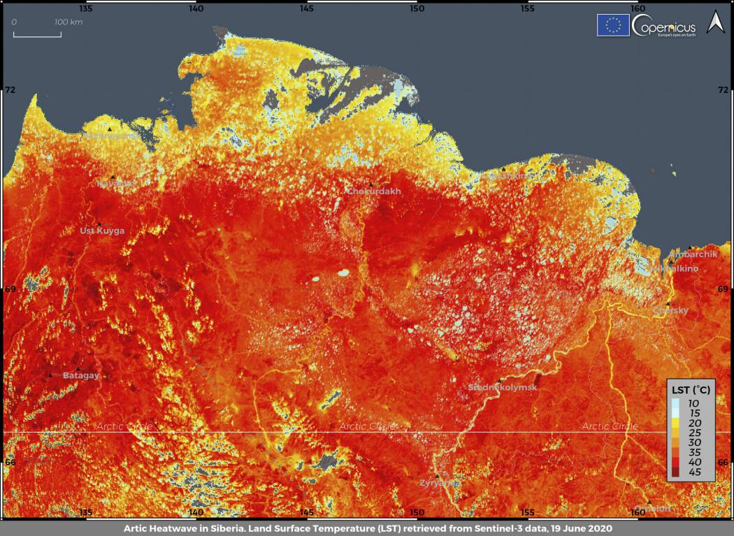 Dette bildet er levert av EUs Copernicus-prosjekt og viser temperaturen på landoverflaten 19. juni. To dager senere ble det målt 37 grader ved den arktiske byen Verkhojansk, som er rekord nord for polarsirkelen.