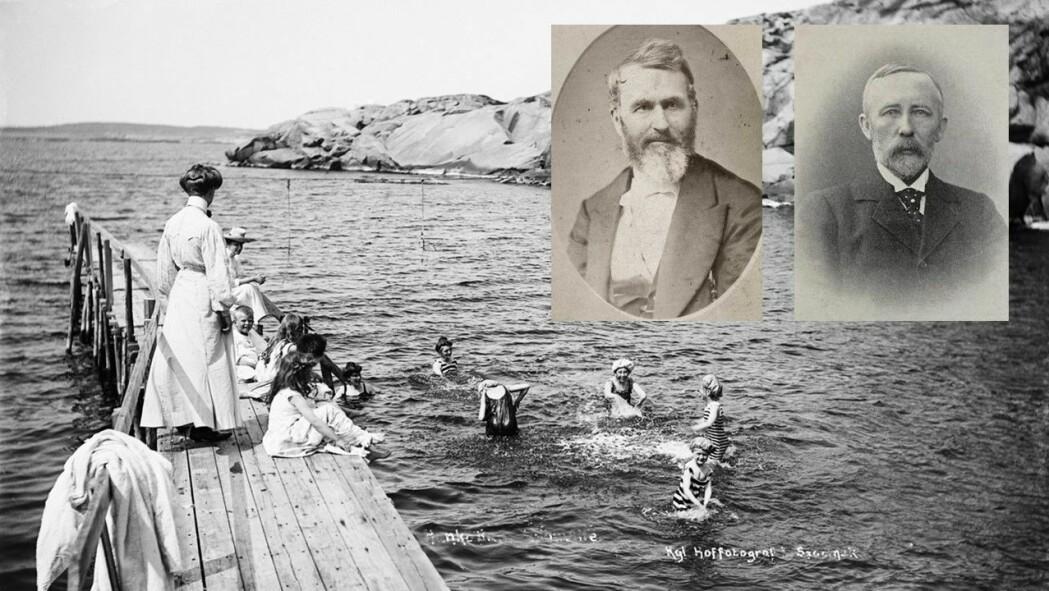 Bading i havet kunne brukes som behandling av flere sykdommer og var herdende og styrkende for friske folk, som for disse barna ved Hankø bad i 1907. Det mente blant annet kurbadpioneren Heinrich Arnold (portrett t.v.) og den anerkjente badelegen Ingebrigt Christian Lund Holm (t.h.)