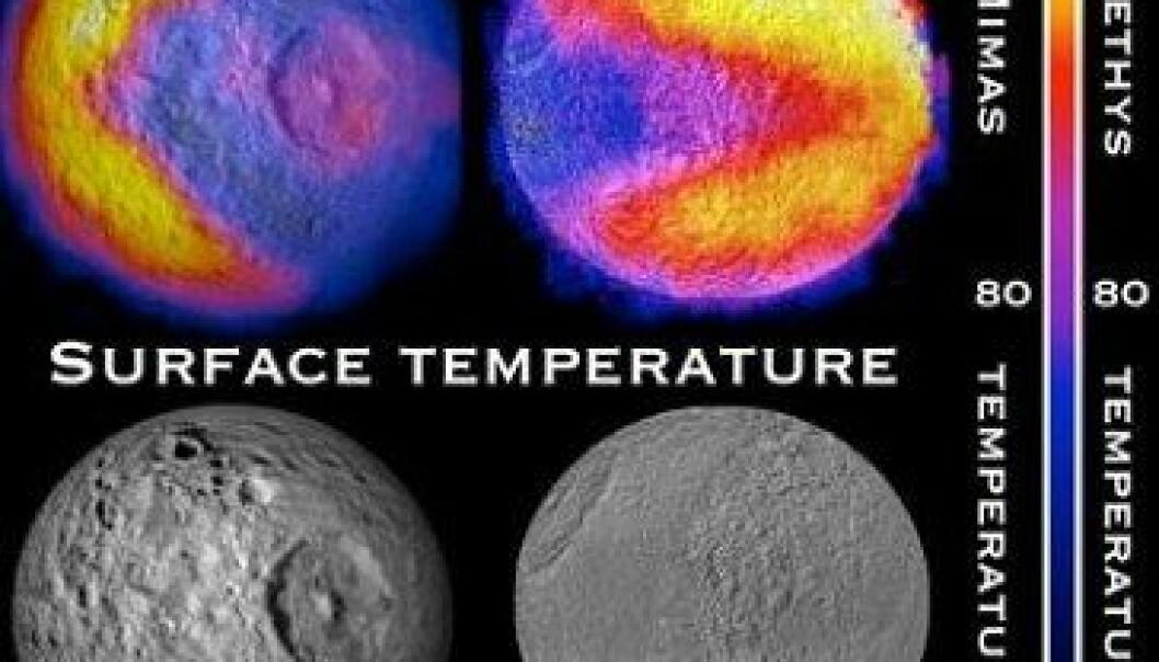 Pac-Man-figuren er varmere enn resten av Saturn-månenes overflate. NASA/JPL-Caltech/GSFC/SWRI