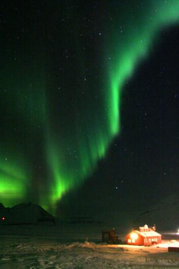 Nordlys over Ny-Ålesund på Svalbard. (Foto: Yvonne Rinne, UiO)