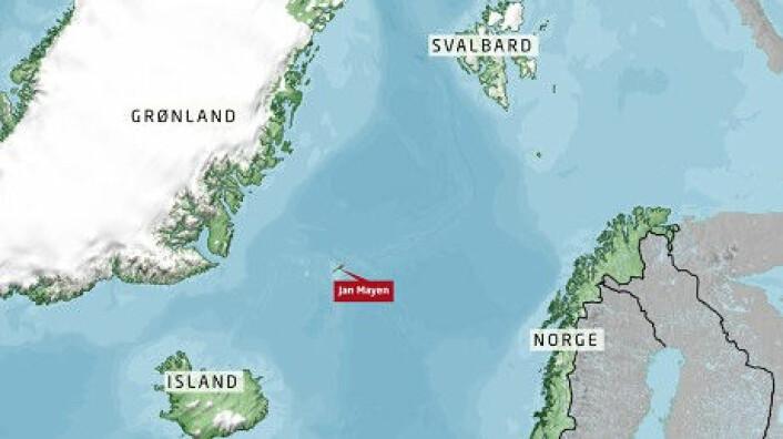 Jan Mayen ligger mellom Grønland, Island, Svalbard og Norge. (Foto: (Grafikk: NRK))