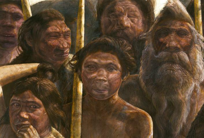 Fortidsmenneskene fra Sima de los Huesos i det nordlige Spania levde for minst 300 000 år siden. Slik kan de ha sett ut, ifølge en tegner. (Foto: (Illustrasjon: Javier Trueba, MADRID SCIENTIFIC FILMS))