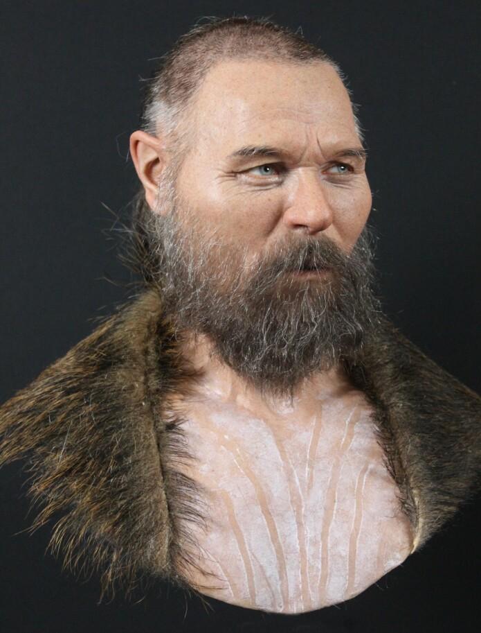Slik kan mannen forskerne fant på trepålen ha sett ut, her med kroppsmaling.