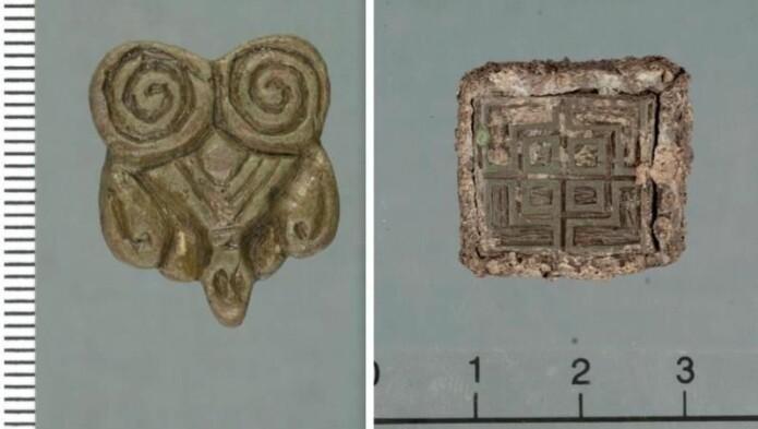 Eksotiske importvarer fra vikingtida: Til venstre: Beslag fra land i øst. Til høyre: Vektlodd med et innstøpt beslag fra De britiske øyer (trolig Irland).