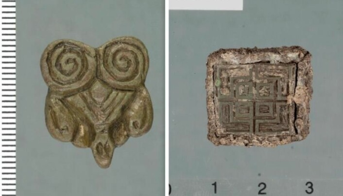 Imports from the Viking Age: To the left: Eastern origin. To the right: Weights with an inscription from the British Isles (probably Ireland).
