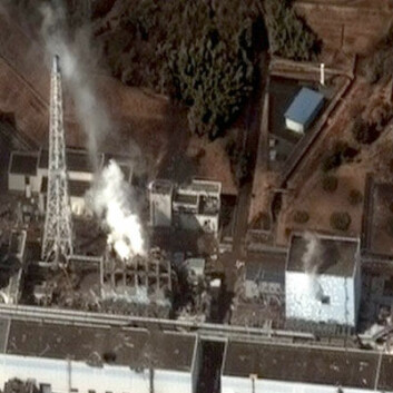 Fukushima I etter jordskjelvet, fotografert 17. mars 2011. (Foto: Digital Globe/HJ Mitchell, Creative Commons, se lisens)