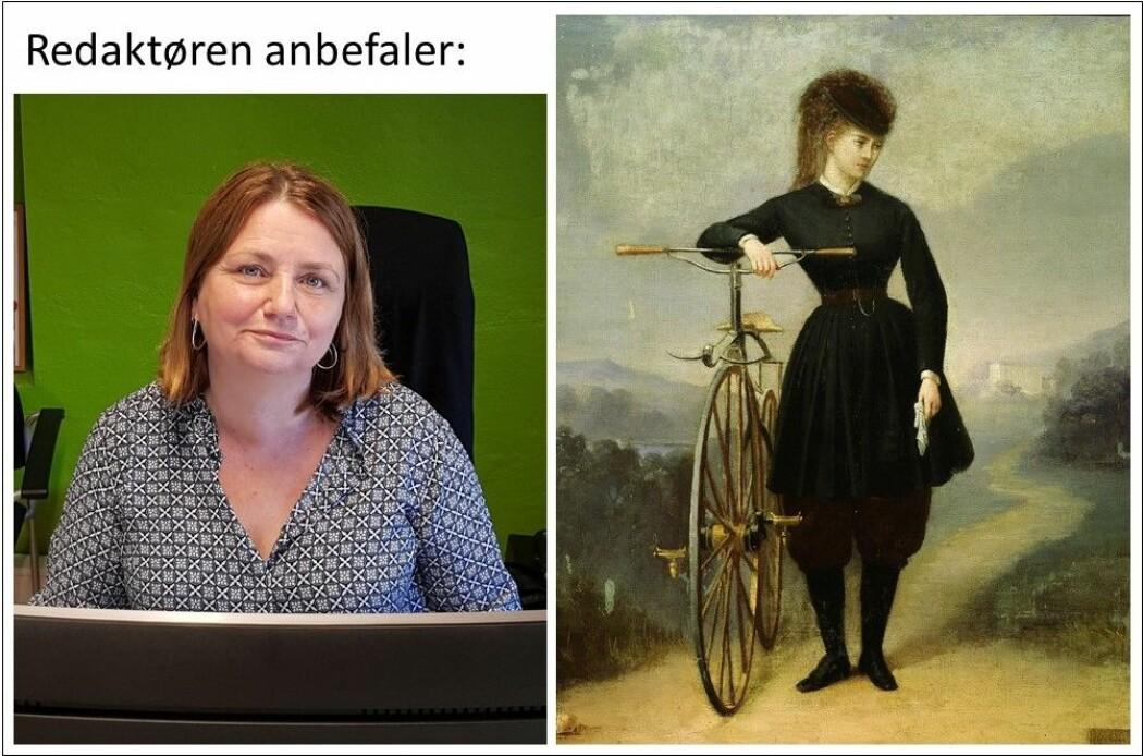 Redaktør Nina Kristiansen til venstre og den franske sangeren Blanche d'Antigny (1840-1874), malt av Betinet.