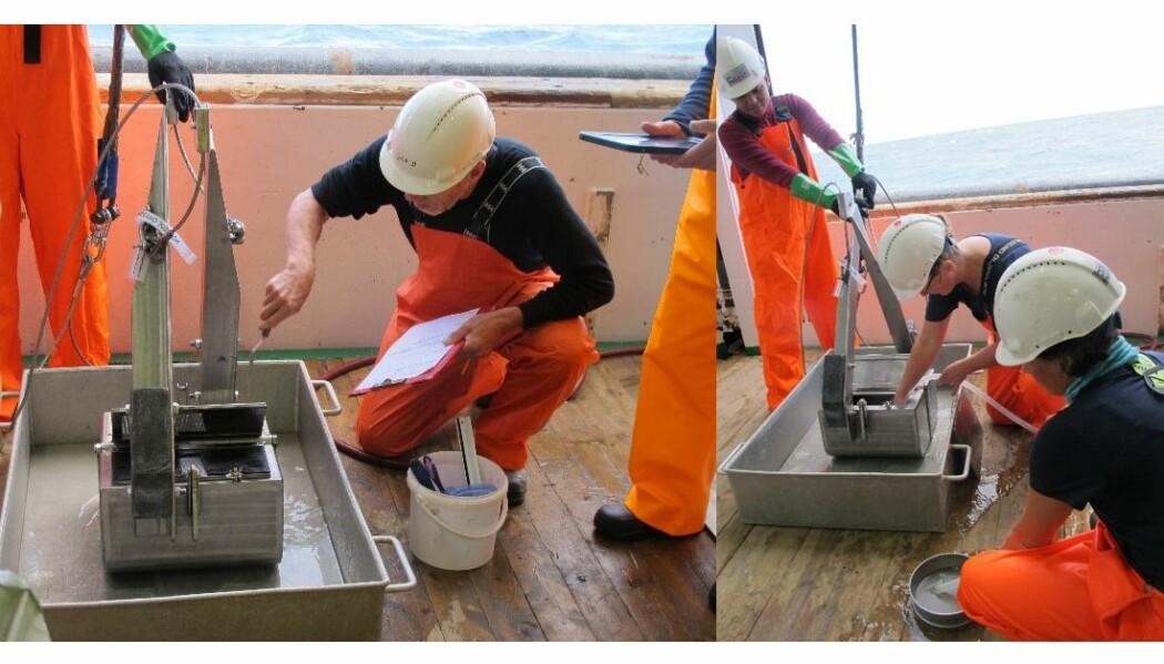 Den første prøven er tatt. Her deles fangstens godbiter mellom geolog Henning Jensen (NGU til venstre) og biolog Anne Sveistrup og hennes kolleger (HI til høyre). Foto: B. Holte