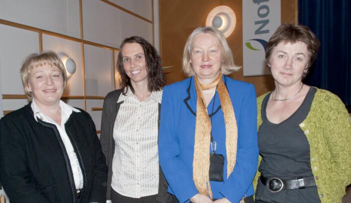 Fire av forskerne bak bak prosjektet, som ble ledet av Animalia. Fra venstre: Ellen Skuterud (Animalia/IKBM/UMB), Kathrine Lunde (Animalia), Bjørg Egelandsdal (IKBM/UMB) og Margrethe Hersleth (Nofima/UMB). (Foto: UMB)