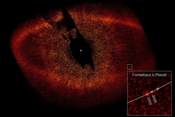NASA offentliggjorde dette bildet i 2008. Fomalhaut b er en av de første eksoplanetene som er direkte avbildet.