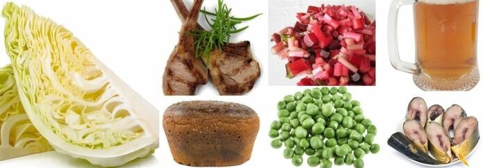 Dette kan ha stått på middagsbordet i et vikinghjem: kål, lam, rabarbra, brød, erter, sild og øl, ifølge forskere som har studert kostholdet i vikingtiden. Men hverken bær, grønnsaker eller brød så ut som de gjør i dag.