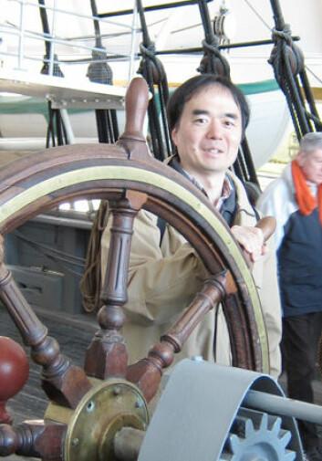 Hiroaki Matsunami, her ombord på Fram på Bygdøy. (Foto: UMB)