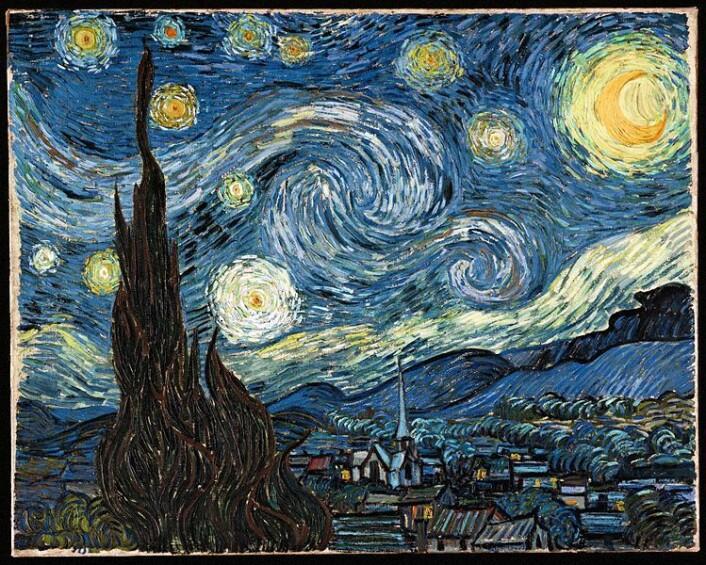 Vincent van Gogh malte bildet Stjernenatt i 1889. Motivet viser stjernehimelen over  Saint-Remy, sett fra vinduet på asylet der kunstneren bodde. (Foto: Wikimedia Commons)