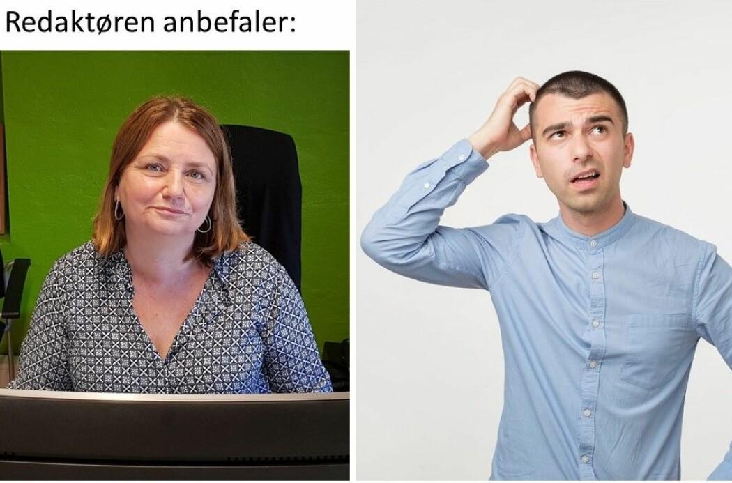 Redaktør Nina Kristiansen til venstre og et illustrasjonsbilde om nysgjerrighet fra en bildebase. Og dermed fikk vi et nytt spørsmål til forskere: Hvorfor klør folk seg i håret når de lurer på noe?