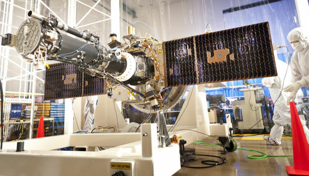 Her er IRIS inne i laboratoriet med solcellepanelene utslått. Lockheed Martin