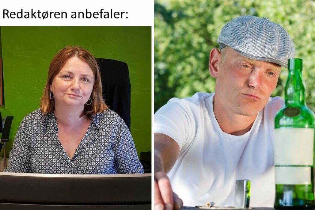 Redaktør Nina Kristiansen til venstre og en ambivalent type til høyre: drikke eller ikke drikke?