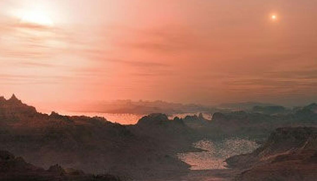 Astronomer har beregnet at flere titalls milliarder steinplaneter kretser rundt lyssvake røde dvergstjerner i Melkeveien. Dette er en kunstnerisk framstilling av en solnedgang på superjorden Gliese 667 Cc, som også er en steinplanet. Den mest lyssterke stjernen på himmelen er den røde dvergen Gliese 667 C. Til høyre er Gliese 667 A og B. European Southern Observatory