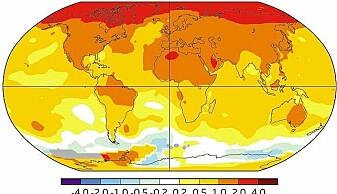 Endring i overflatetemperaturer 1970-2017. Legg merke til hvor mye varmere det er i Arktis, denne effekten kalles polar forsterkning.